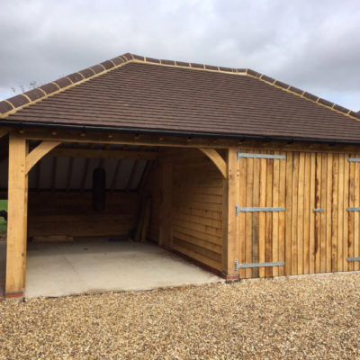 Double bay garage with store room at rear