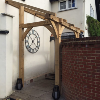 Oak frame with glass canopy