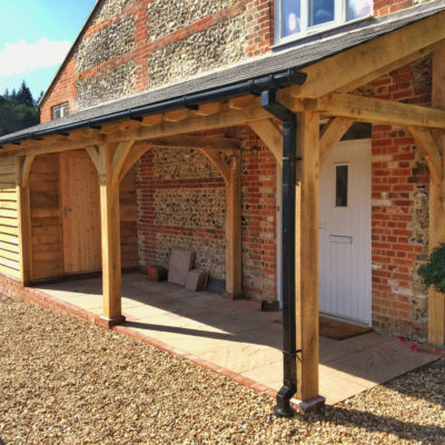 Oak framed porch and insulated boots room, Andover